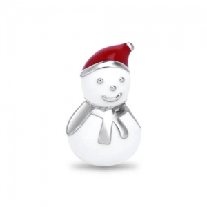 Silver Playful Snow Man Charm