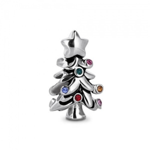 Christmas Tree Charm with Colorful Rhinestone Bulbs