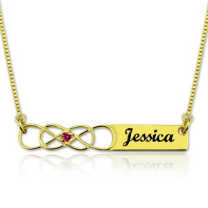 Double Infinity Bar Name Necklace with Birthstone Gold