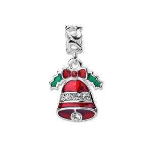Adorable Sterling Silver Christmas Bell Charm Rhinestone