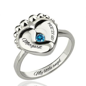 Birthstone Mother Day Ring With Baby Name Platinum Plated