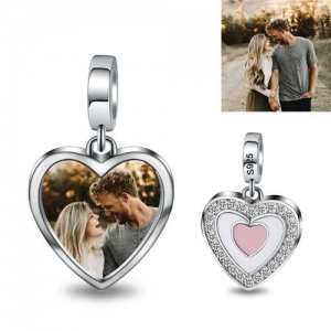 Silver Heart Shaped Couple's Photo Charm
