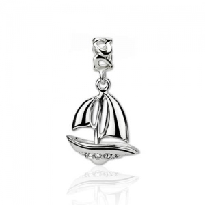 Sterling Silver Sailboat Charm White Gold Plate