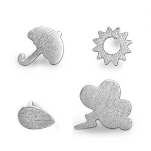 Weather Symbol Dainty Stud Earrings Sterling Silver