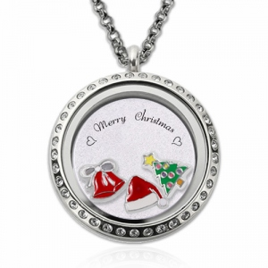 Custom Circle Christmas Floating Locket Stainless Steel