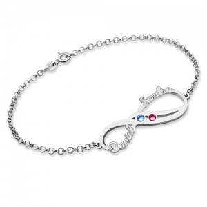 Sterling Silver Infinity Names Bracelet with Birthstones