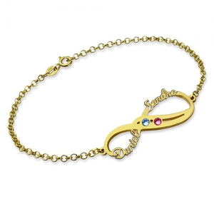 Infinity Names Bracelet with Birthstones 18K Gold Plated