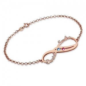 Infinity Names Bracelet with Birthstones In Rose Gold