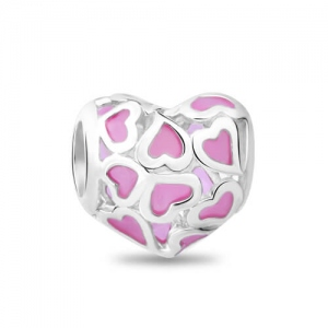 Sterling Silver Pink Heart Charm with Pattern of Hearts Design