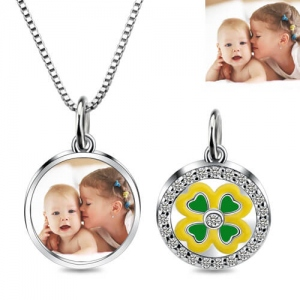 Lucky 4 Leaf Clover Photo Pendant Necklace Sterling Silver