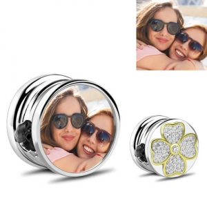 Four-leaf Clover Lucky Photo Charm Sterling Silver