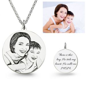Personalized Photo Engraved Necklace Silver Sterling / Stainless Steel