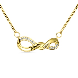 Engraved Infinity Double Name Necklace for Her in Gold