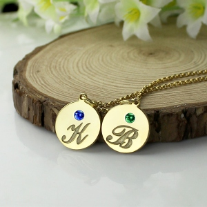 Engraved Initial & Birthstone Disc Charm Necklace 18k Gold Plated