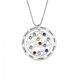 Personalized Family Tree Birthstone Necklace in Rose Gold