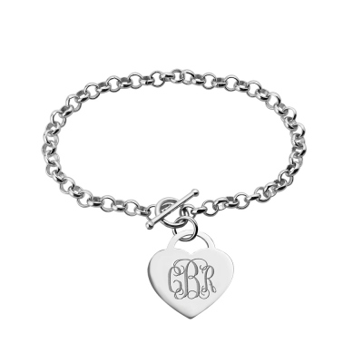 Personalized Heart Charm Monogram Bracelet Sterling Silver