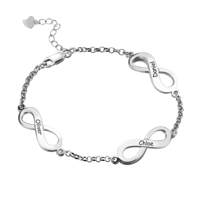 Personalized Triple Infinity Mother's Name Bracelet Sterling Silver