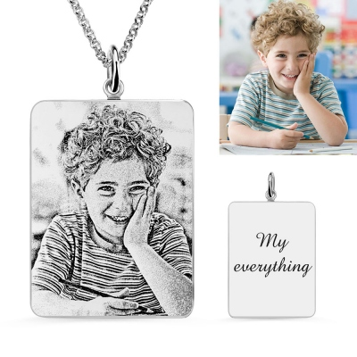 Rectangle Engraved Photo Necklace In Sterling Silver