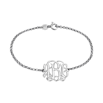 Custom Sterling Silver Monogram Bracelet for Him/Her