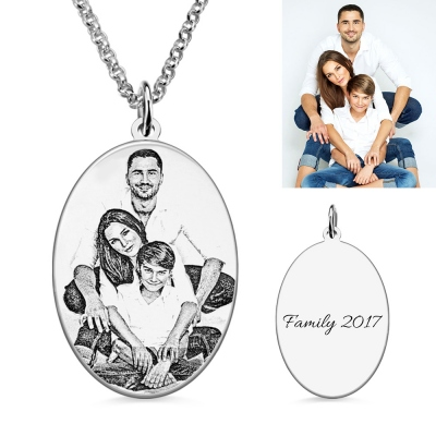 Custom Oval Engraved Family Photo Necklace Sterling Silver