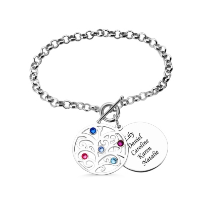 Personalized Birthstone Nana Family Tree Bracelet Sterling Silver