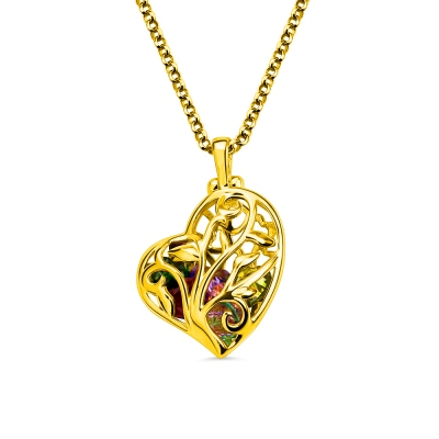 Heart Cage Family Tree Necklace With Birthstones Gold Plated