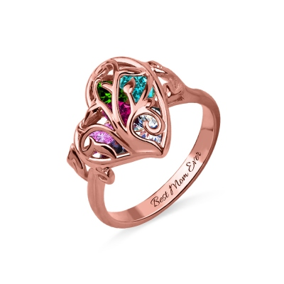 Family Tree Heart Cage Ring With Heart Birthstones In Rose Gold