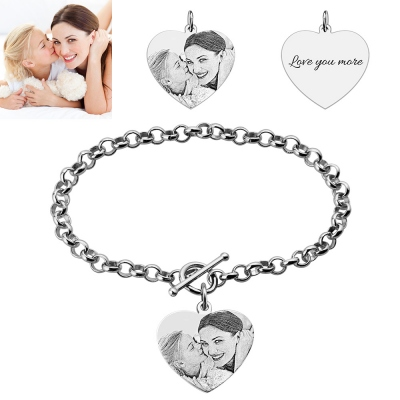 Custom Heart Charm Photo Engraved Bracelet In Sterling Silver