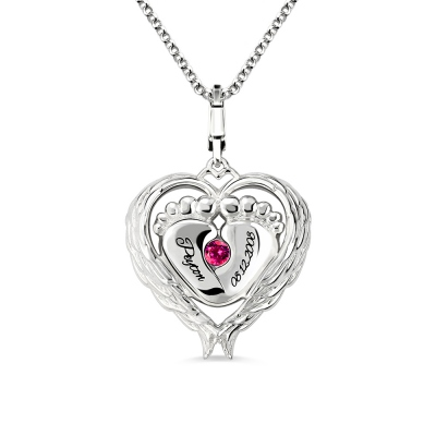 Angel Wings Baby Feet Necklace With Birthstone Platinum Plated