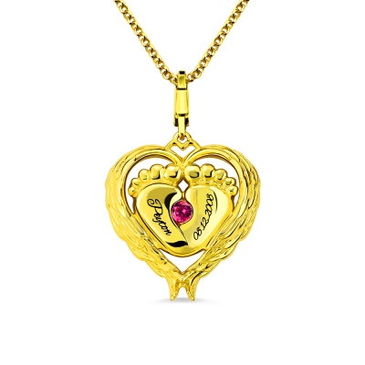 Angel Wings Baby Feet Necklace With Birthstone Gold Plated