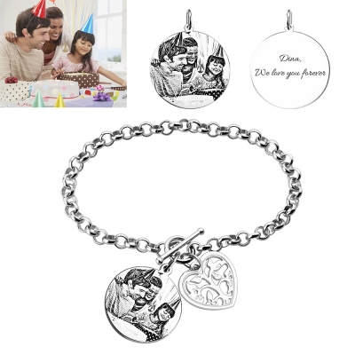 Engraved Photo Charm Bracelet For Mothers Sterling Silver