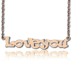 Rose Gold Plated Silver Personalized Name Plate Necklace for Her