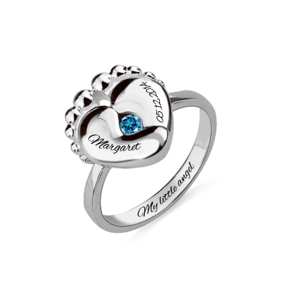 Birthstone Ring For New Mom With Engraved Baby Name & Birth Date