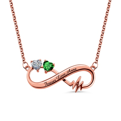 Heartbeat Infinity Necklace With Birthstones In Rose Gold