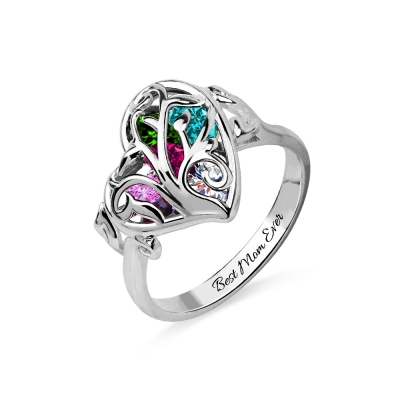 Family Tree Heart Cage Ring With Heart Birthstones Platinum Plated
