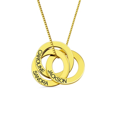 Engraved Russian Ring Necklace Gold Plated Silver