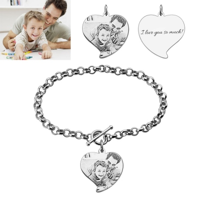 Engraved Heart Charm Father & Son Photo Bracelet