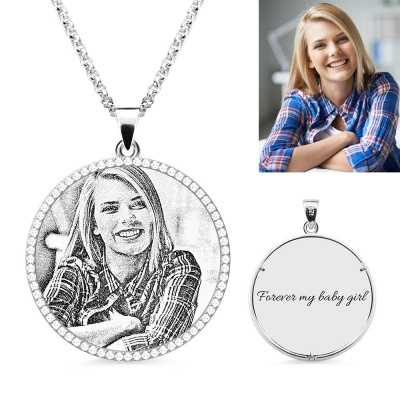 Personalized Engraved Round Iced Out Photo Necklace