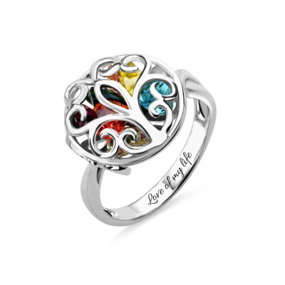 Round Cage Family Tree Ring with Birthstone Platinum Plated