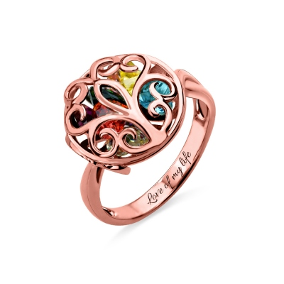 Round Cage Family Tree Ring with Birthstone In Rose Gold