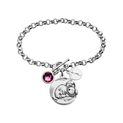 Sterling Silver Photo-Engraved Bracelet for New Mom