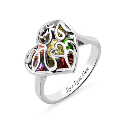 Mother's Heart Cage Ring With Birthstones Platinum Plated