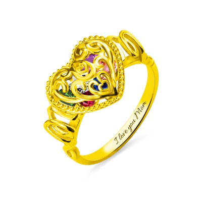 """MOM"" Heart Cage Ring With Birthstones Gold Plated"