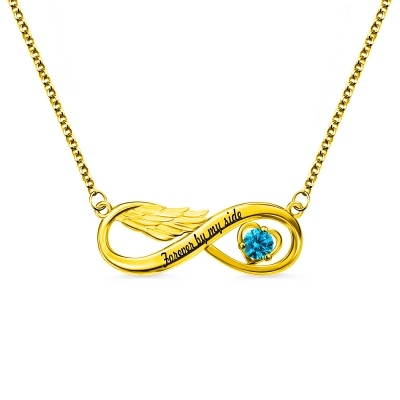 Infinity Angel Wing Engraved Necklace with Birthstone Gold Plated