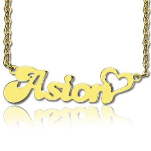 Personalized BANANA Font Heart Shape Name Necklace Solid Gold