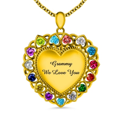 Heart Necklace With Birthstones Grandma Necklace Gold Plated