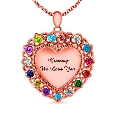 Heart Necklace With Birthstones for Grandma In Rose Gold