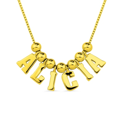Personalized Letter & Name Necklace Gold Plated