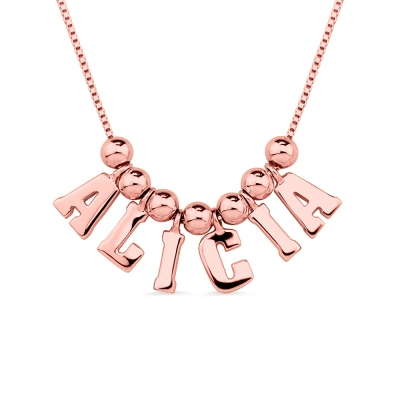 Personalized Letter & Name  Necklace In Rose Gold