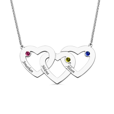 Intertwined 3 Open Hearts Birthstones Silver Name Necklace